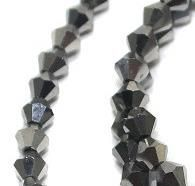 Crystal Faceted Bicone Metallic Beads Gray, size 4mm , Pack of 100 pcs
