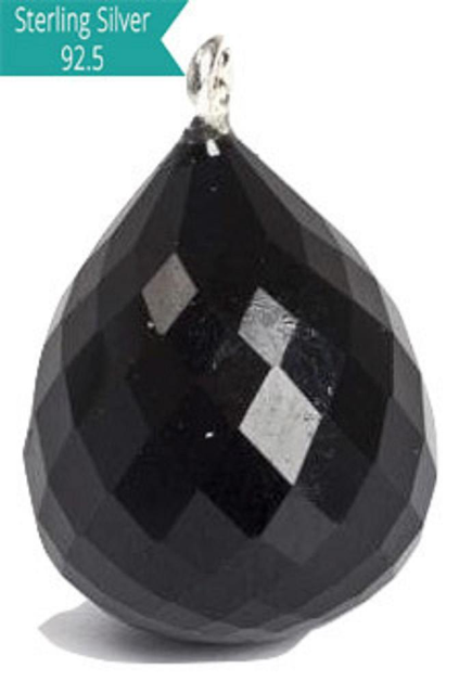 925 Silver with Black Onyx Faceted Charm