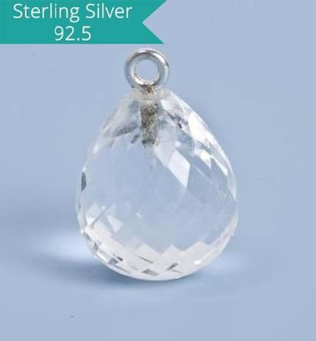 925 Silver with Crytsal Quartz Faceted Charm