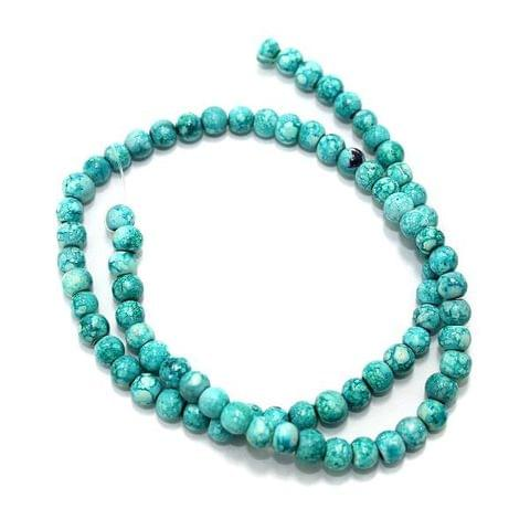 5 Strings Marble Round Beads Teal 6 mm
