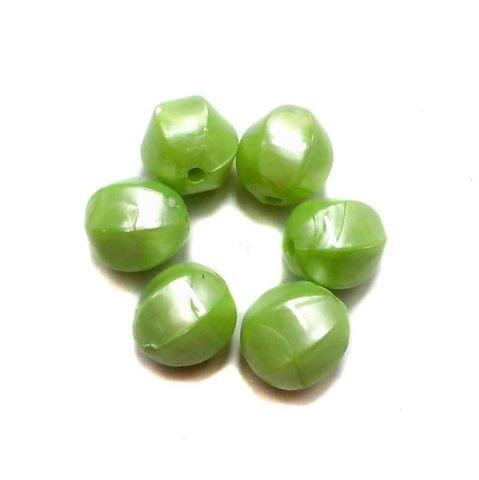 100 Acrylic Pearl Finish Beads Peridot 12 mm