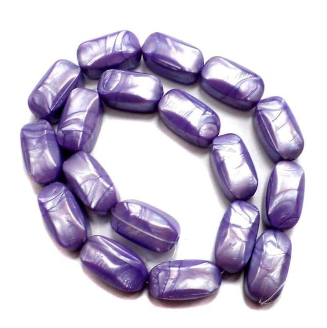 36 Acrylic Pearl Beads Purple 20x10mm