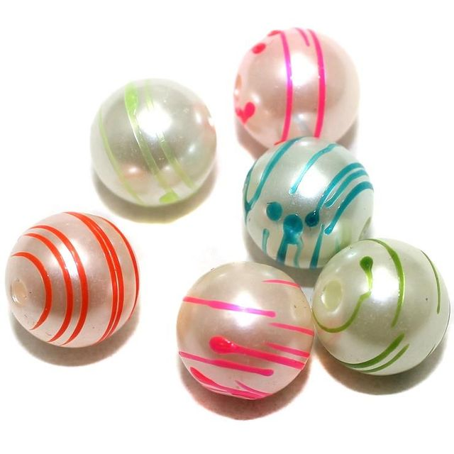 10 Acrylic Pearl Round Beads Assorted 13mm
