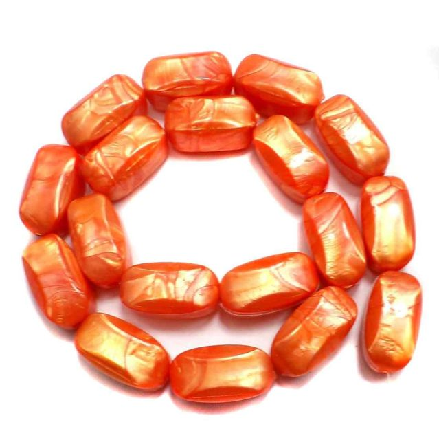 36 Acrylic Pearl Beads Orange 20x10mm