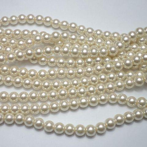 45+ Glass Pearl Round Beads Of White 8 mm