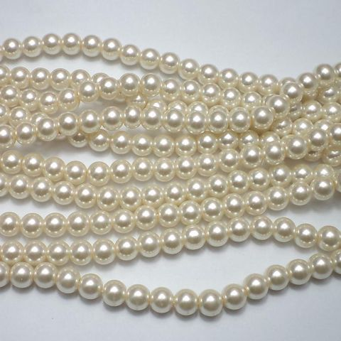 45+ Glass Pearl Round Beads Off White 8 mm