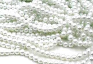 10 strings Of glass pearl round beads white 10mm