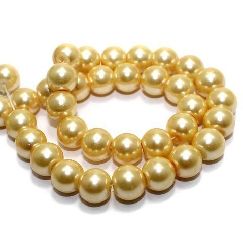 40+ Glass Pearl Round Beads Ivory 10mm
