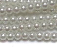 10 Strings Of glass pearl round beads white 3mm