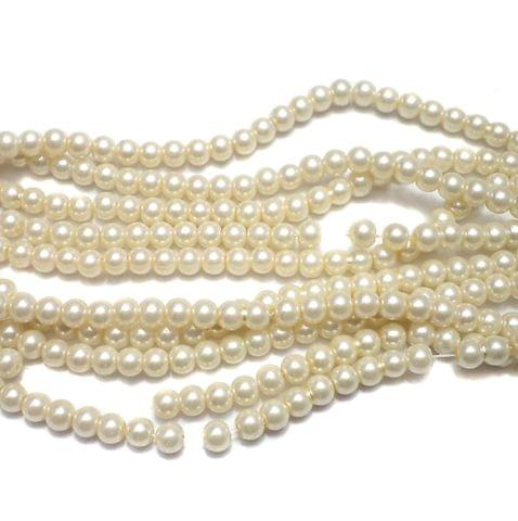 10 Strings of GLASS PEARL ROUND BEADS OFF WHITE 6 MM