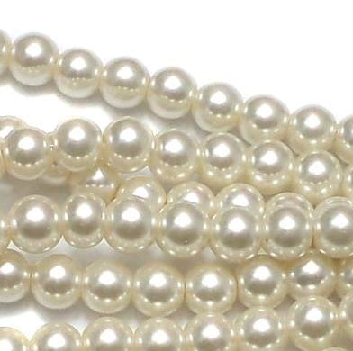 10 Strings of GLASS PEARL ROUND BEADS OFf WHITE 8 MM