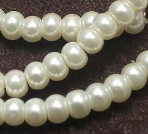 10 Strings Of Glass Pearl Beads Round White 4mm