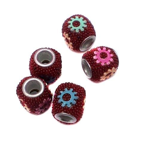 10 Pcs. Lac Tyre Beads Red 10x12mm