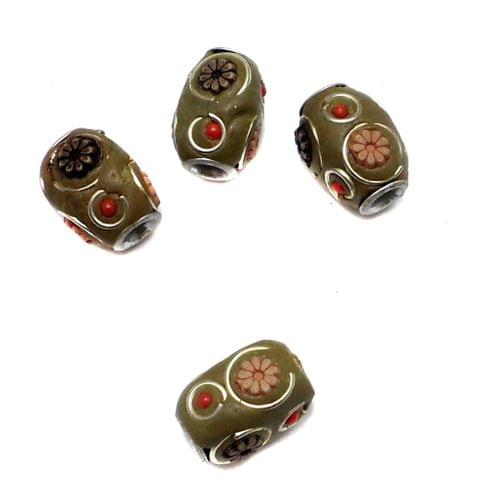 10 Pcs. Lac Oval Beads Green Olive 15x12mm