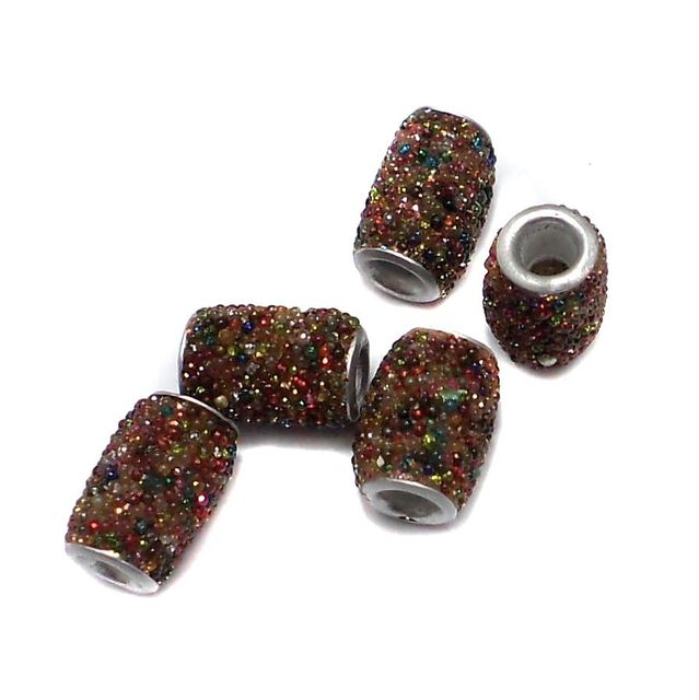 10 Pcs. Lac Drum Beads Multi 15x10mm