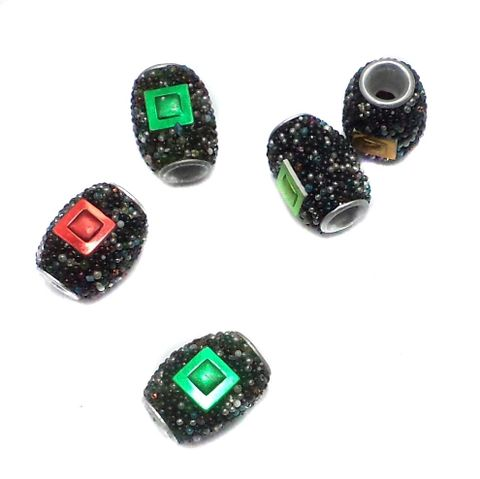 10 Pcs. Lac Drum Beads Black 15x12mm