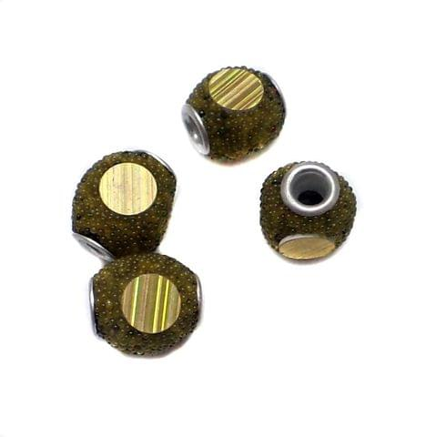 10 Pcs. Lac Tyre Beads Olive Green 12mm