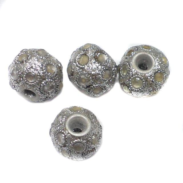 10 Pcs. Lac RONDELLE Beads Silver 12x15mm