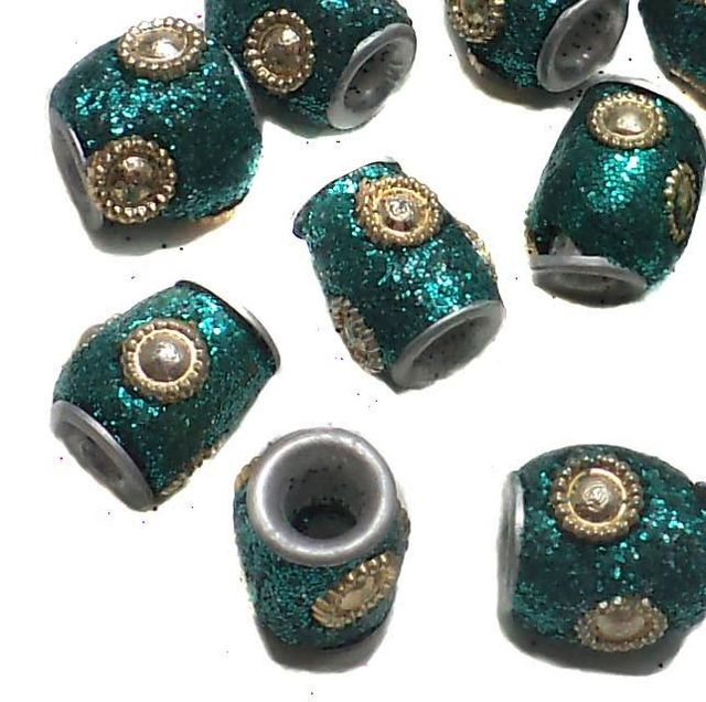 20 Pcs. Lac Round Tube Beads Teal 10mm