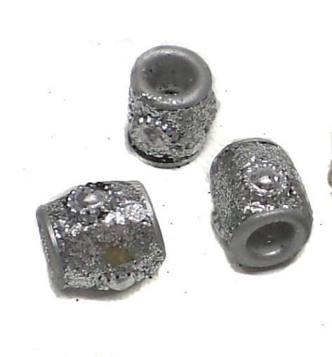 20 Pcs. Lac Round Tube Beads Silver 10mm