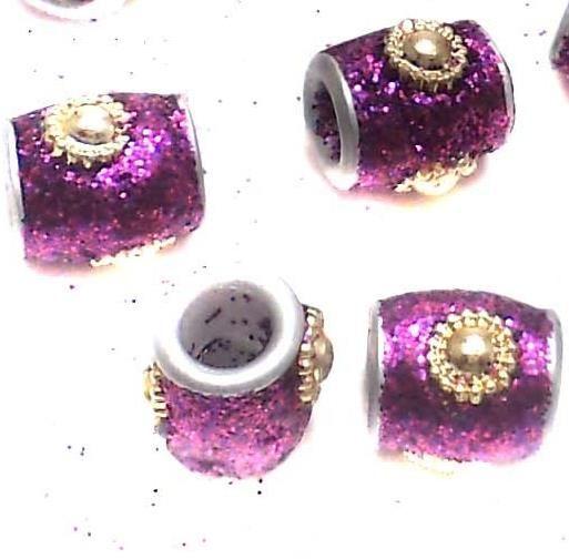 20 Pcs. Lac Round Tube Beads Purple 10mm