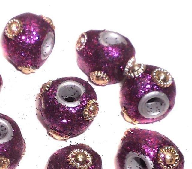20 Pcs. Lac RONDELLE Beads Purple 12mm