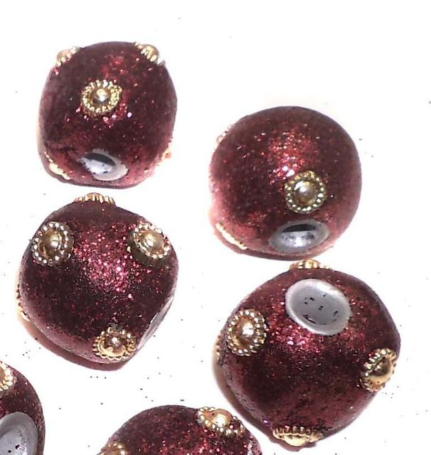20 Pcs. Lac RONDELLE Beads Maroon 16mm