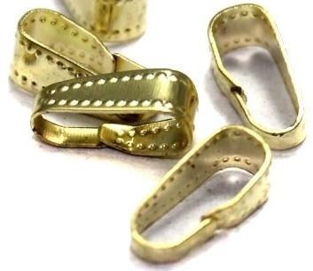 100 Pinch Bail Golden For Pendants 12x5mm