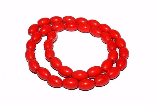 5 strings Glass Oval Beads Red 12x8mm