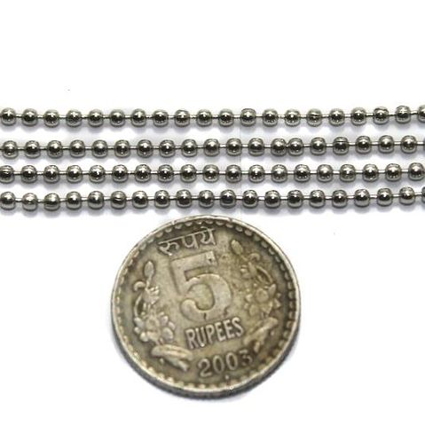 Metal Ball Chain Silver (Link size 1.5mm ) 2 Mtrs