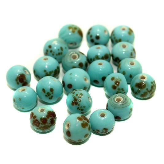 140+ Mosaic Round Beads Turquoise 8mm
