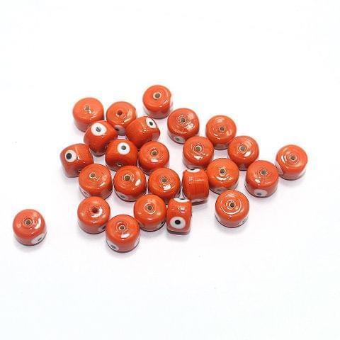 125 pcs Evil Eye Tyre Beads Red 13x9mm