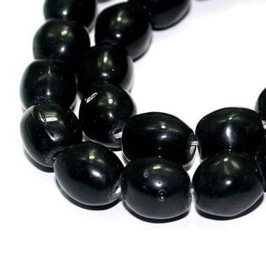5 Strings Fire Polish Oval Beads Black 10x8mm