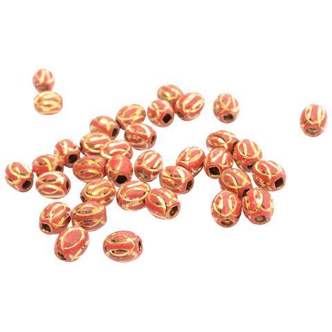 Buy 1 Get 1 Pack Free Red Metallic Gold Engraved Bead