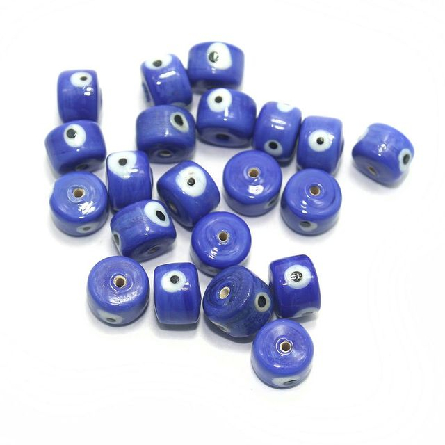 125 pcs Evil Eye Tyre Beads Blue 13x9mm
