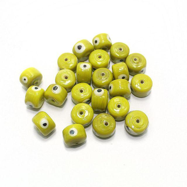 125 pcs Evil Eye Tyre Beads Yellow 13x9mm