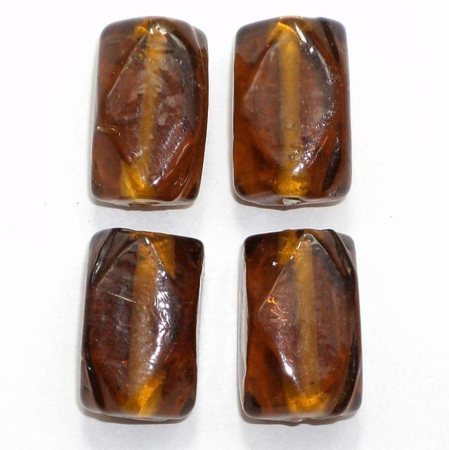 18+ Glass Beads Brown 20x12mm