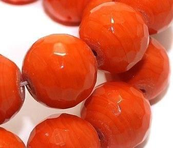 25+ Faceted Glass Round Beads Orange 16mm