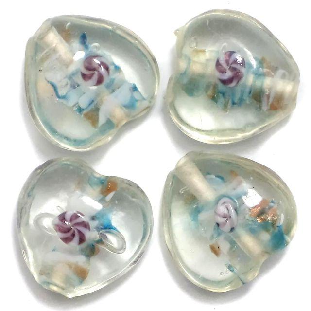 10 Fancy Heart Beads Trans White 20mm