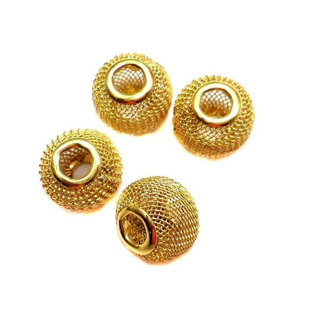 10 Metal Beads Golden 11x9mm