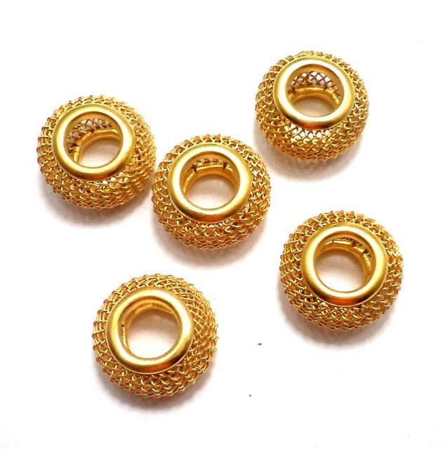 10 Metal Beads Golden 13x11mm