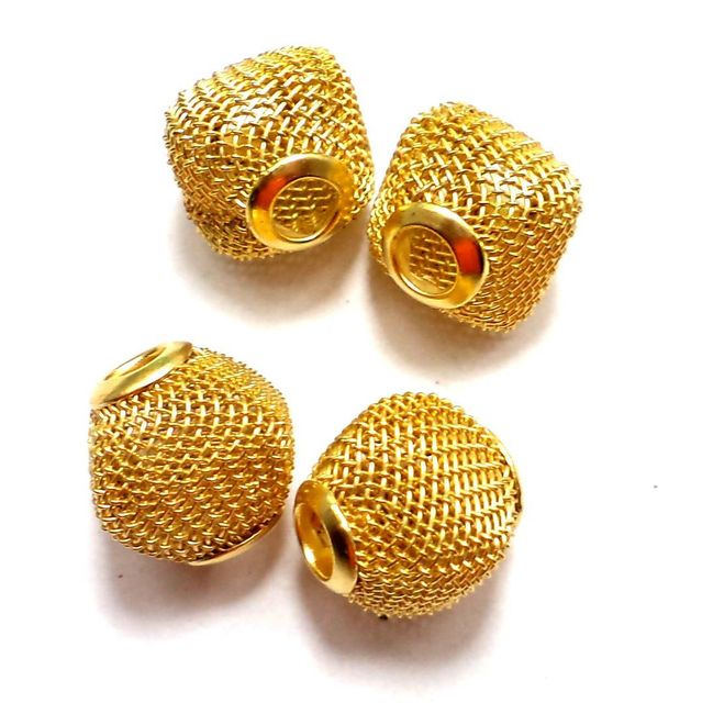10 Metal Beads Golden 14x14mm