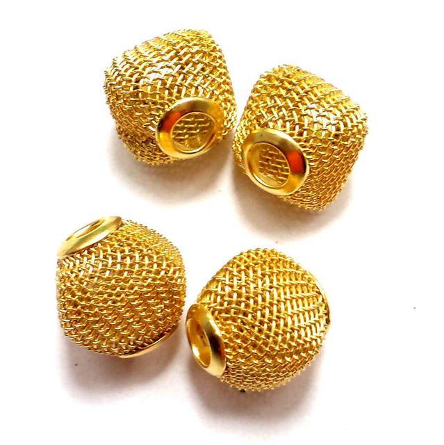 10 Metal Beads Golden 14x14mm