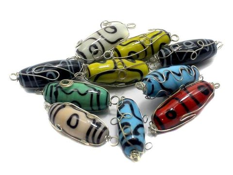 10 Glass Oval Beads Wire Wrap Assorted 28x12mm