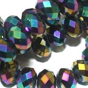 100+ Faceted Metallic RONDELLE Beads Assorted 6x4 mm
