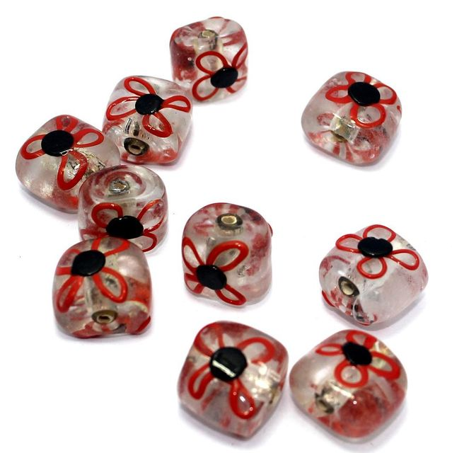10 Silver Foil Flower Beads Red 13x16mm