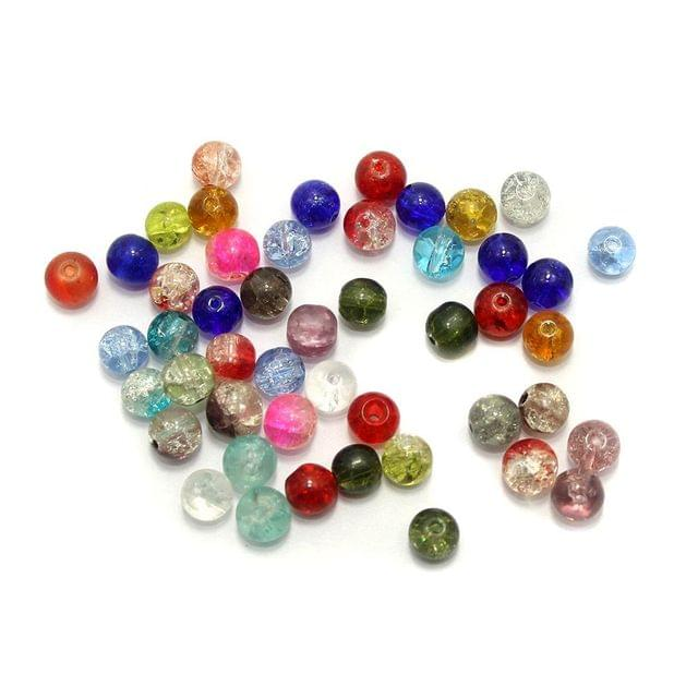 350 Crackle Round Beads Assorted 8mm