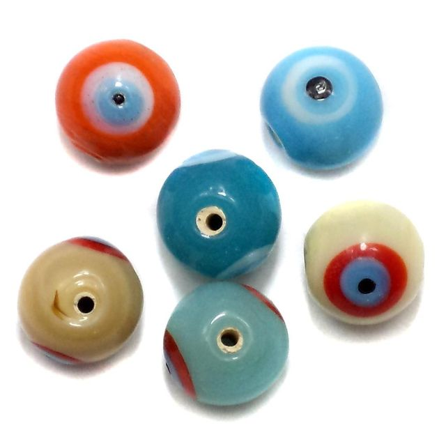 30+ Eye Round Beads Assorted 12mm
