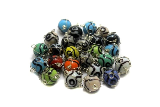 25 Glass Round Beads VNR Wire Wrap 12mm
