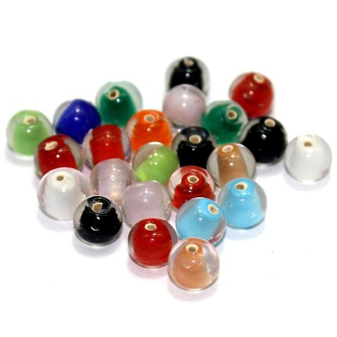 5 strings Glass Round Beads Inside color Assorted 8mm